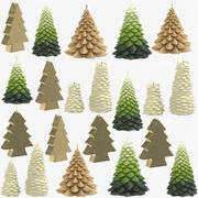 Christmas Tree Shaped Candles Collection 3d model