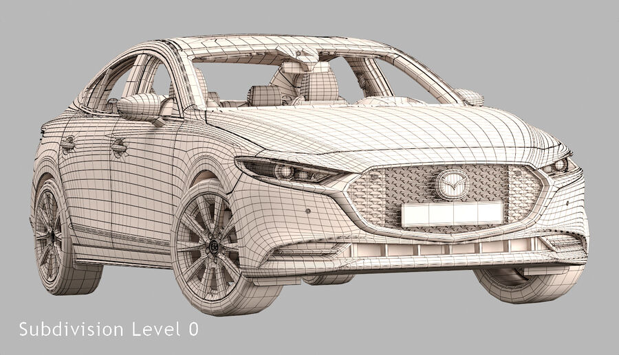2019 Mazda 3 Limousine royalty-free 3d model - Preview no. 18