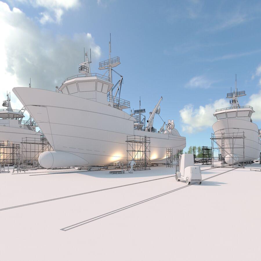 Stoczniowe łodzie rybackie royalty-free 3d model - Preview no. 4