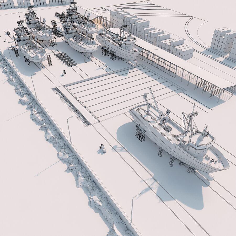Stoczniowe łodzie rybackie royalty-free 3d model - Preview no. 14