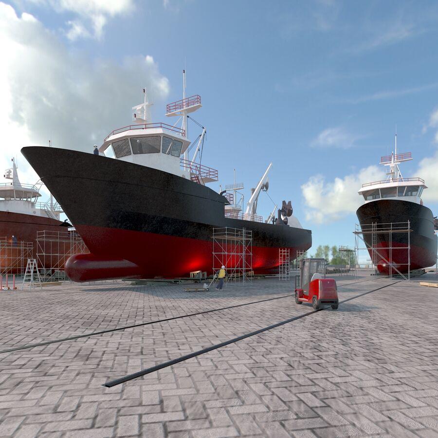 Stoczniowe łodzie rybackie royalty-free 3d model - Preview no. 3