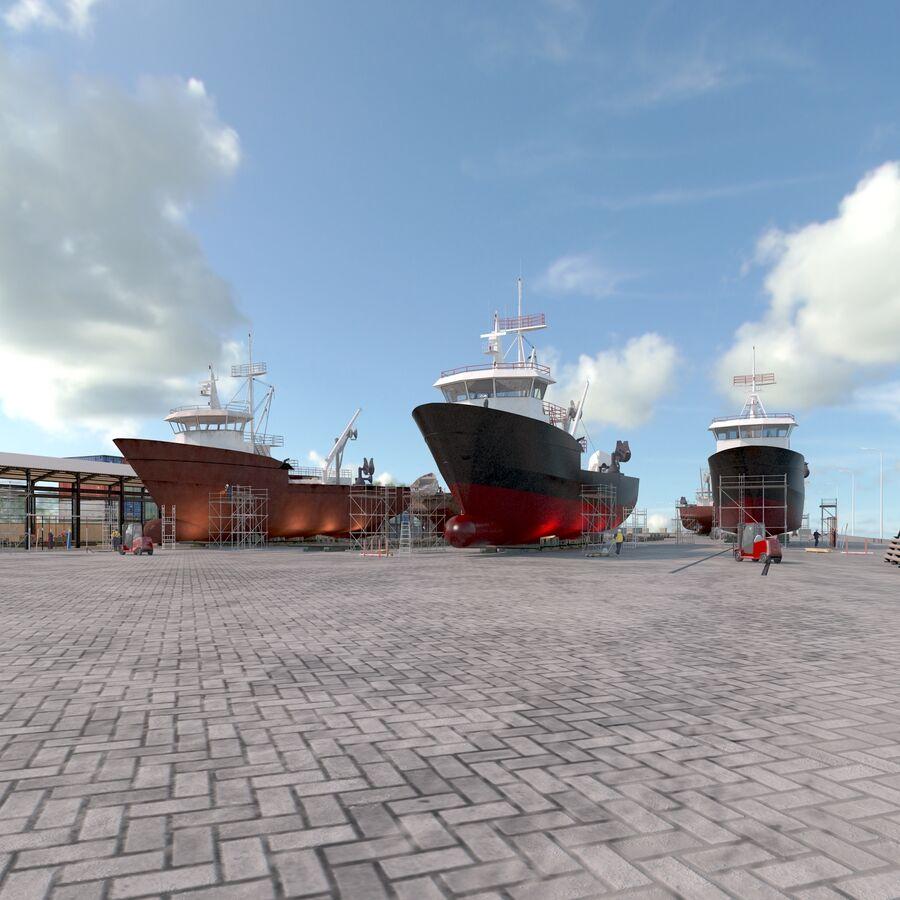 Stoczniowe łodzie rybackie royalty-free 3d model - Preview no. 5
