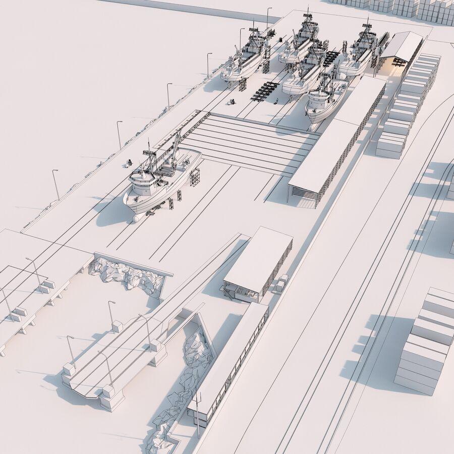 Stoczniowe łodzie rybackie royalty-free 3d model - Preview no. 16
