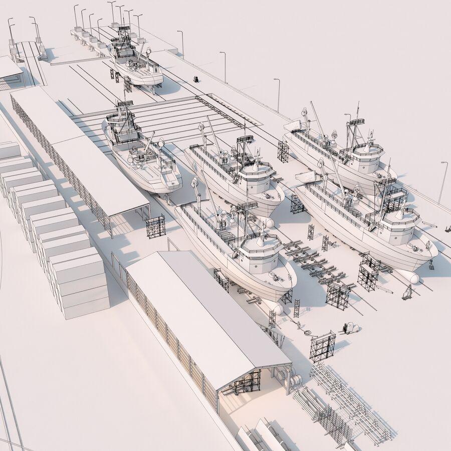 Stoczniowe łodzie rybackie royalty-free 3d model - Preview no. 18
