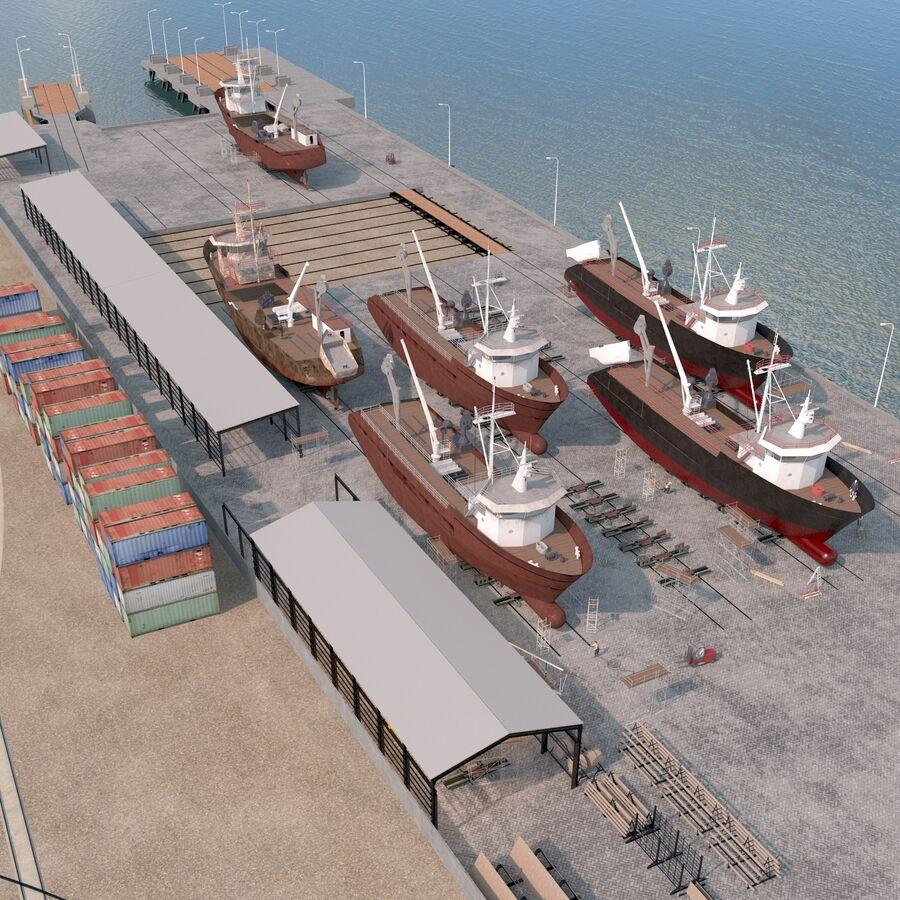 Stoczniowe łodzie rybackie royalty-free 3d model - Preview no. 17