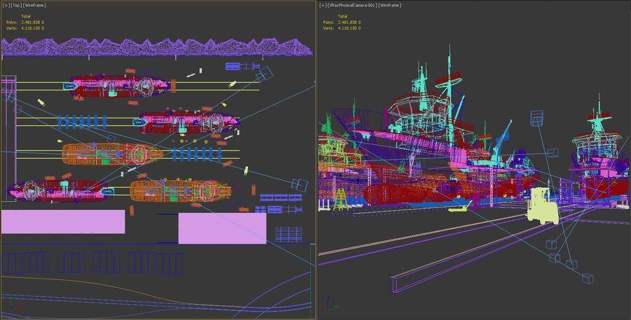 Stoczniowe łodzie rybackie royalty-free 3d model - Preview no. 19