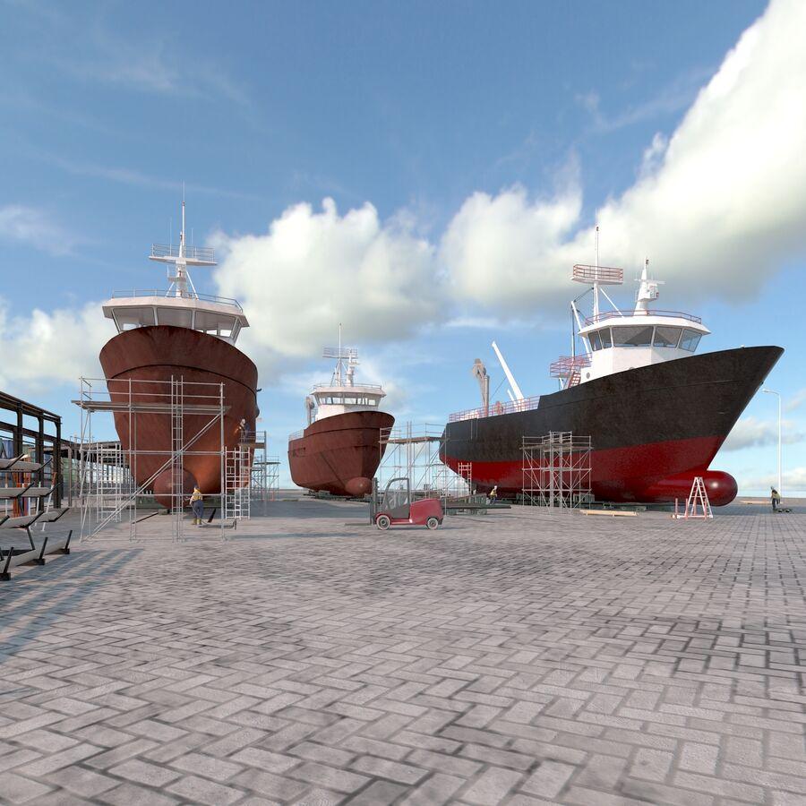 Stoczniowe łodzie rybackie royalty-free 3d model - Preview no. 7