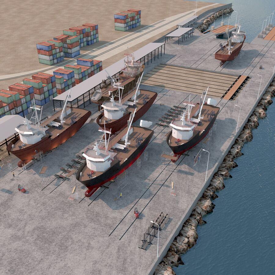 Stoczniowe łodzie rybackie royalty-free 3d model - Preview no. 1