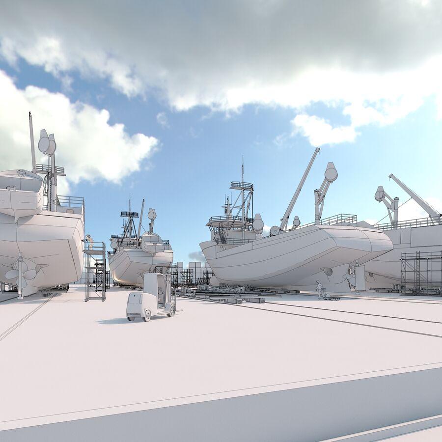 Stoczniowe łodzie rybackie royalty-free 3d model - Preview no. 10