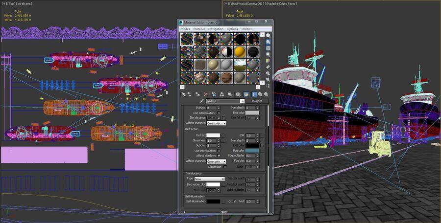 Stoczniowe łodzie rybackie royalty-free 3d model - Preview no. 20