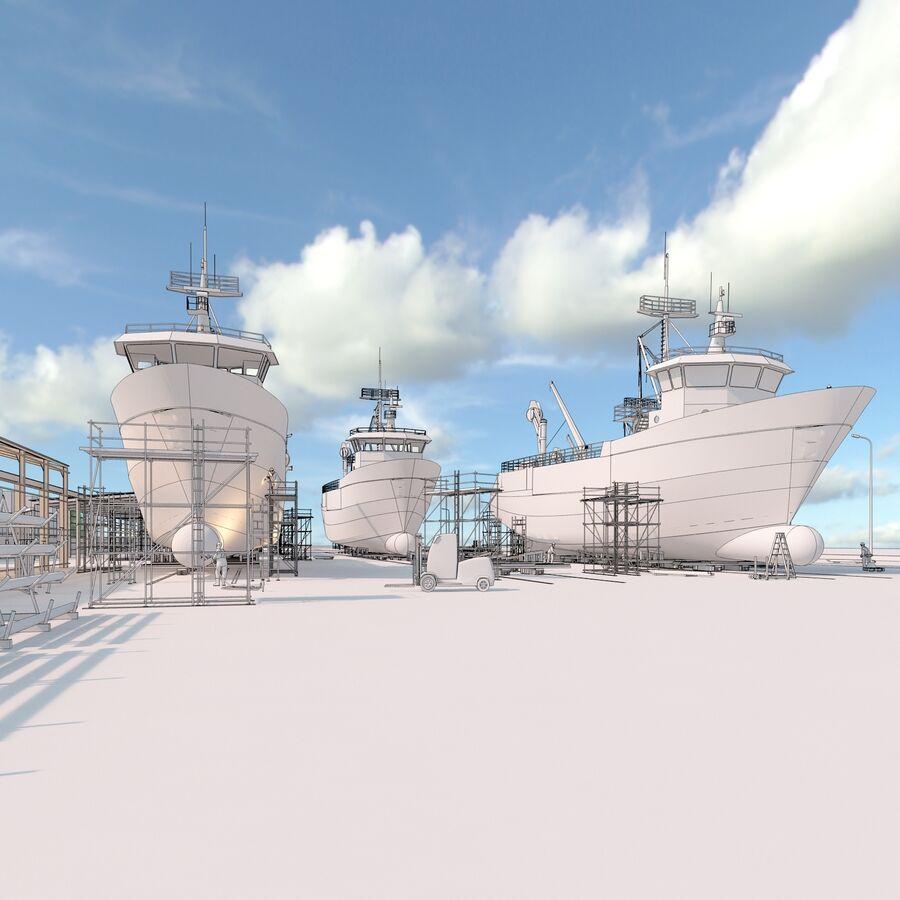 Stoczniowe łodzie rybackie royalty-free 3d model - Preview no. 8