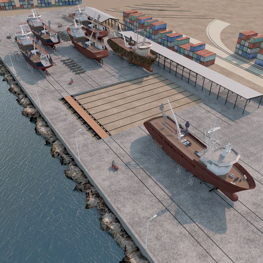 Stoczniowe łodzie rybackie royalty-free 3d model - Preview no. 13