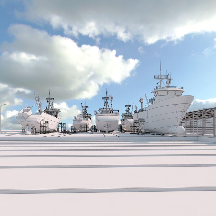 Stoczniowe łodzie rybackie royalty-free 3d model - Preview no. 12