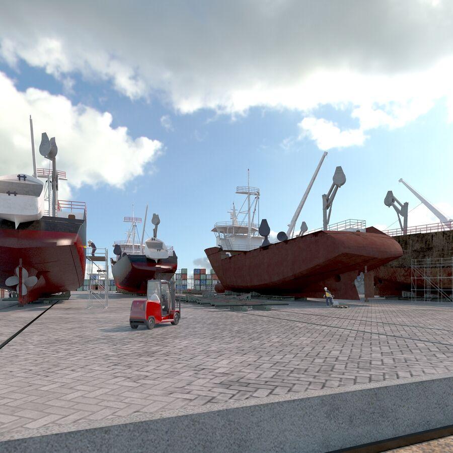 Stoczniowe łodzie rybackie royalty-free 3d model - Preview no. 9
