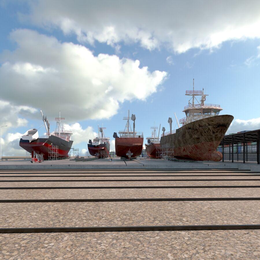 Stoczniowe łodzie rybackie royalty-free 3d model - Preview no. 11