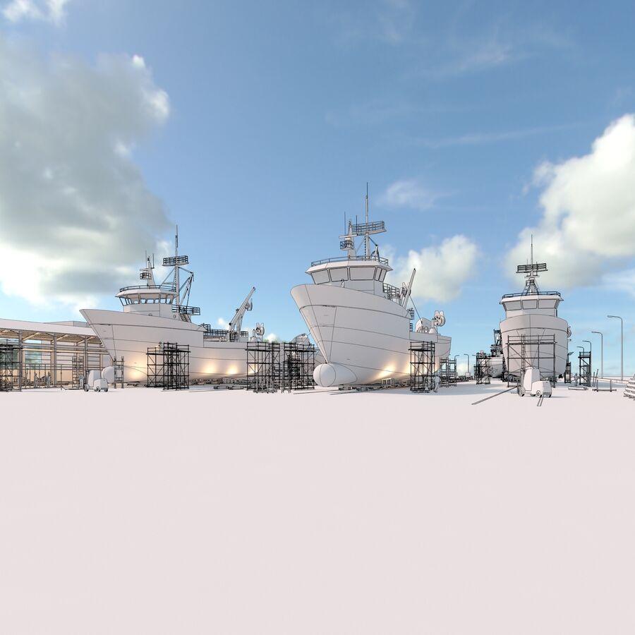 Stoczniowe łodzie rybackie royalty-free 3d model - Preview no. 6