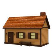 Cartoon Wood House 3d model