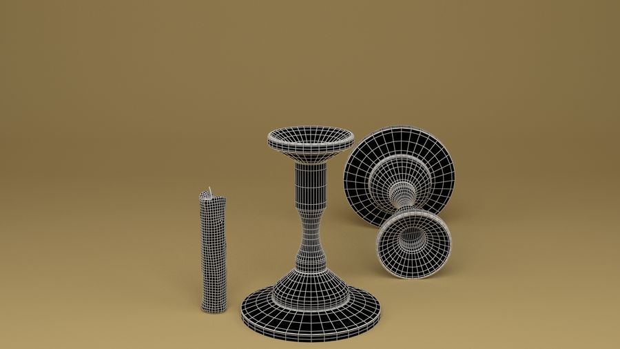 Candlestick with Candle royalty-free 3d model - Preview no. 3
