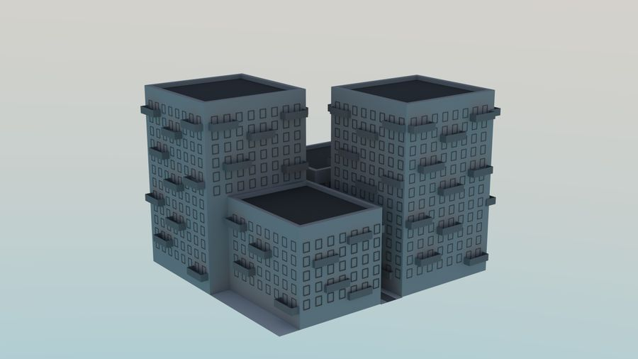 LowPoly Buildings Square royalty-free 3d model - Preview no. 2
