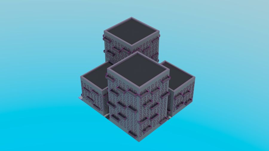 LowPoly Buildings Square royalty-free 3d model - Preview no. 5