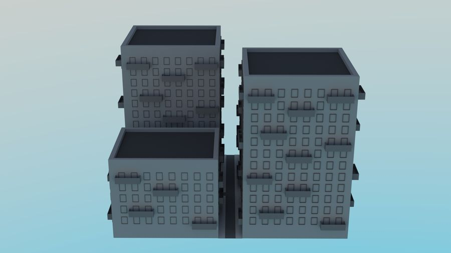 LowPoly Buildings Square royalty-free 3d model - Preview no. 4