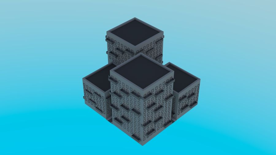 LowPoly Buildings Square royalty-free 3d model - Preview no. 1