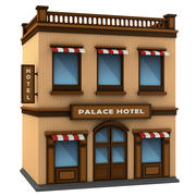Cartoon Hotel Building 3d model