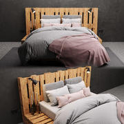 Bed made of pallet 3d model