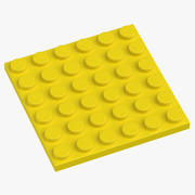 Lego Plate 6x6 Flame Bright Yellow 3d model
