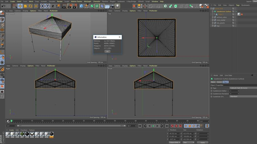 이벤트 텐트 4x4 3D 모델 3D 모델 royalty-free 3d model - Preview no. 22