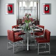 Ronde tafel en spiegel 3d model