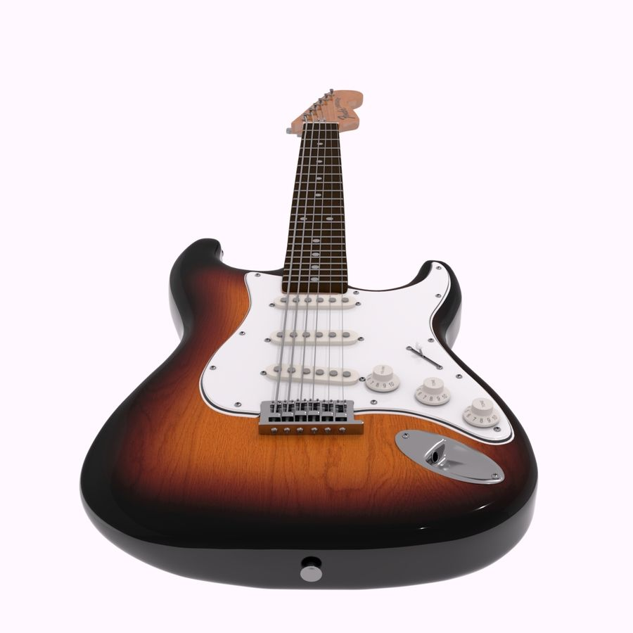 Guitarra Fender Stratocaster (Sunburst) royalty-free 3d model - Preview no. 4