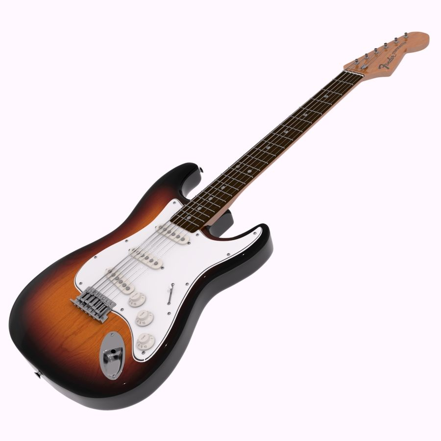 Guitarra Fender Stratocaster (Sunburst) royalty-free 3d model - Preview no. 1