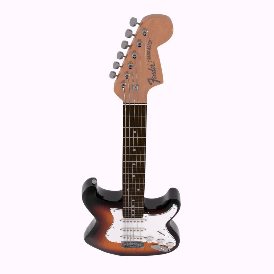 Guitarra Fender Stratocaster (Sunburst) royalty-free 3d model - Preview no. 3