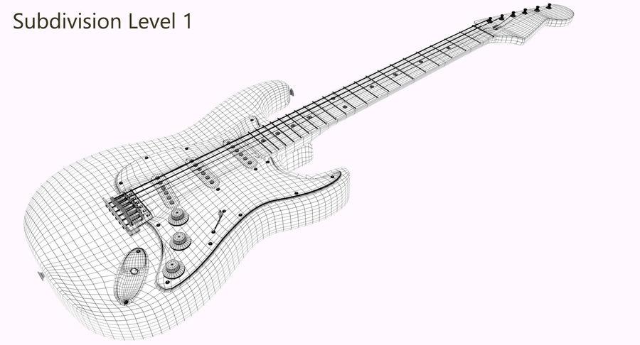 Guitarra Fender Stratocaster (Sunburst) royalty-free 3d model - Preview no. 9