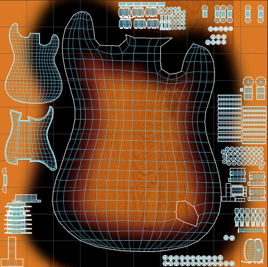 Guitarra Fender Stratocaster (Sunburst) royalty-free 3d model - Preview no. 11