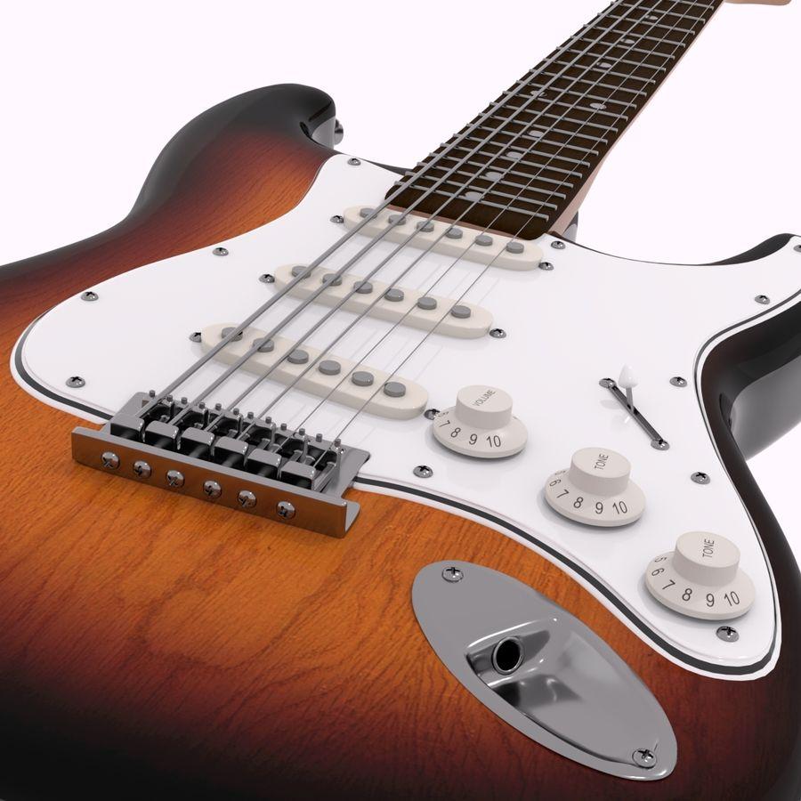 Guitarra Fender Stratocaster (Sunburst) royalty-free 3d model - Preview no. 12