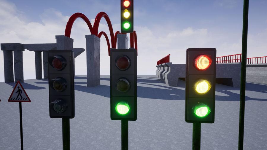 Trafik Işıkları (Oyuna Hazır) royalty-free 3d model - Preview no. 4