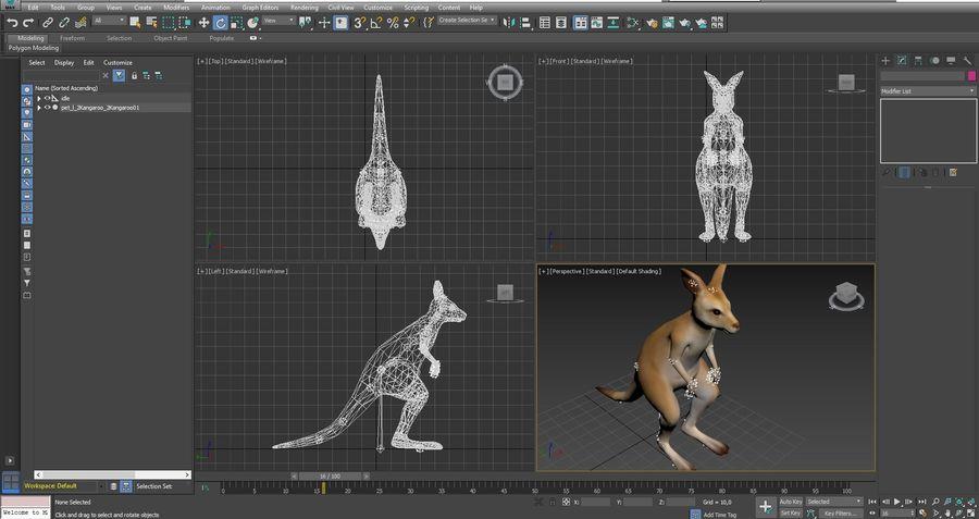 Känguru royalty-free 3d model - Preview no. 3