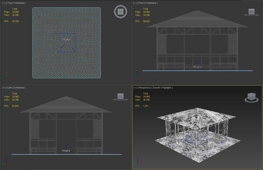 Pérgola 3D royalty-free modelo 3d - Preview no. 12
