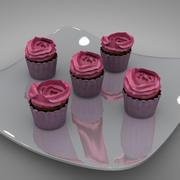 cup cakes roses L127 3d model