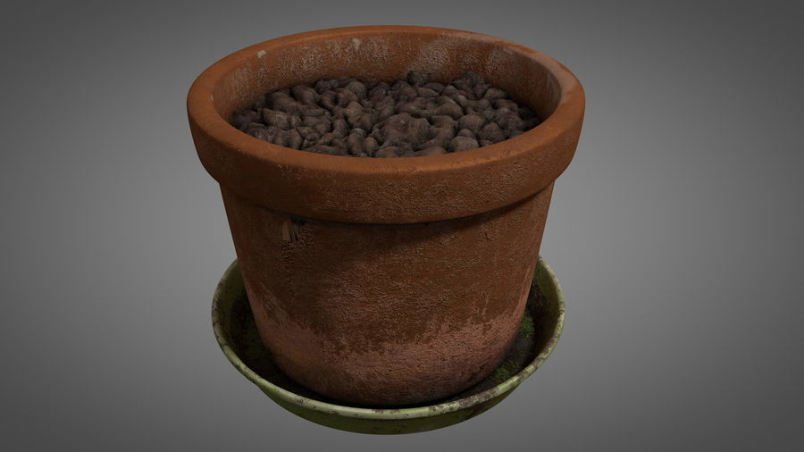 Planteur de pots de fleurs vintage royalty-free 3d model - Preview no. 7