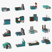 Factory buildings low poly 3d model