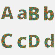 Sans Font 3D Alfabet med 4 färger bollar 3d model