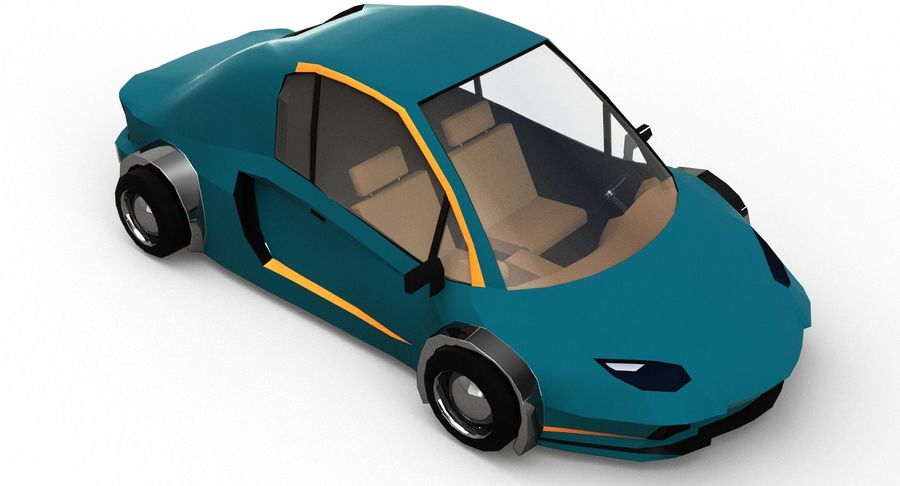 Cartoon Sport Car v.1 royalty-free 3d model - Preview no. 9