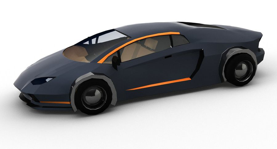 Cartoon Sport Car royalty-free 3d model - Preview no. 3