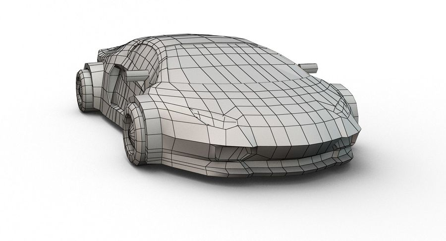 Cartoon Sport Car royalty-free 3d model - Preview no. 20