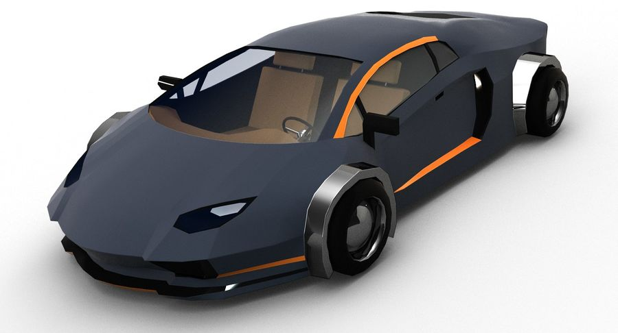 Cartoon Sport Car royalty-free 3d model - Preview no. 2