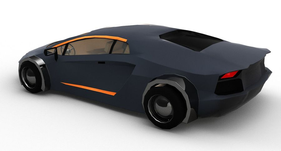 Cartoon Sport Car royalty-free 3d model - Preview no. 4