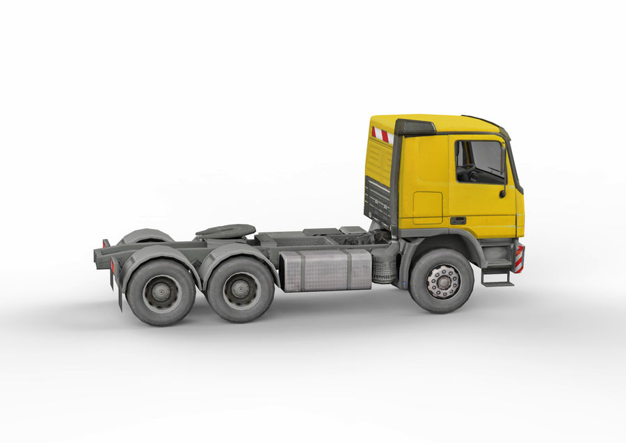 Camion lourd jaune royalty-free 3d model - Preview no. 8